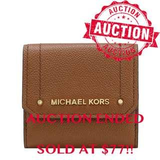 """⏰ENDING SOON!! Auction """"Like"""" & """"Bid"""" Authentic Brand New Michael Kors Hayes Medium Trifold Coin Wallet Luggage Brown LATEST DESIGN From USA Seggusted Retail: $318"""