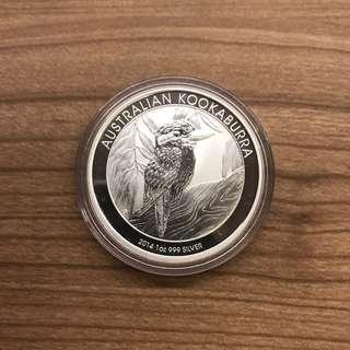 2014 Australia Perth Mint Kookaburra 1oz 999 Silver Coin