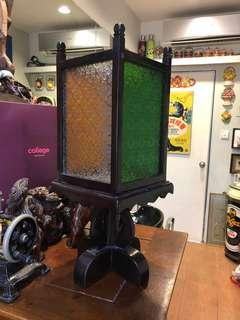 Peranakan style table candle footed lamp