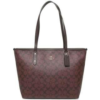 NEW ARRIVAL Coach City Zip Tote In Signature Coated Canvas Oxblood