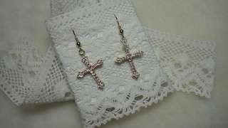 Made in Japan Cubic Zirconia earring   日本製 十字架鋯石耳環 水晶耳環