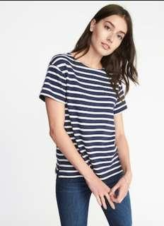 BNIB old navy relaxed mariner thick navy blue stripe top