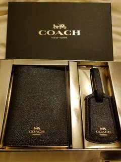 Brand New Coach Passport Cover and Luggage Tag Set