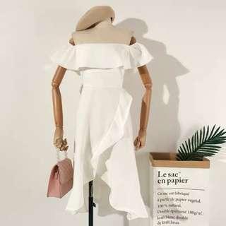 Brand new white off shoulder dinner dress