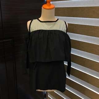 Matroishka Black Ruffle Off Shoulder Stripe Top