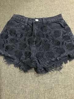 Black Rose Embroidered Shorts
