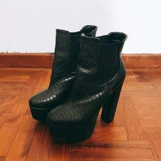 Black Snake Skin Textured Platform Boots