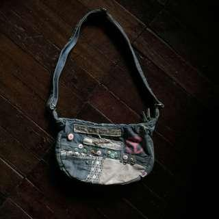 Denim style shoulder bag