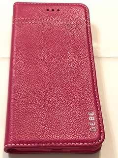 GEBEI 牌子I Phone Phus+5.5')真皮桃紅色手機套 (九成新)可放兩張八達通