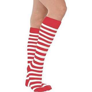 Red and White Stripe Christmas Socks