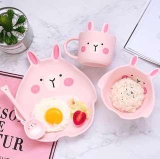 Pink Rabbit Tableware Set
