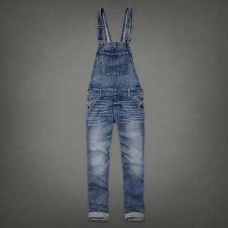 Authentic Abercrombie & Fitch ANF Allie Distressed Denim Overalls XS