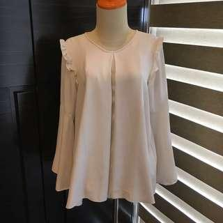 PregFab White Ruffle Sleeve Top