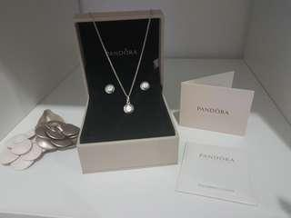 Brand New & Authentic Pandora Set Kalung & Anting With Box Card ans Polishing Cloth