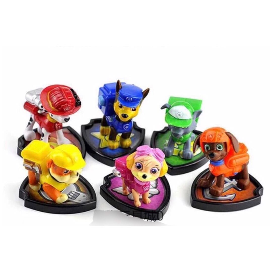 6 Paw Patrol Dog Figurines With Badge Cake Topper Decoration