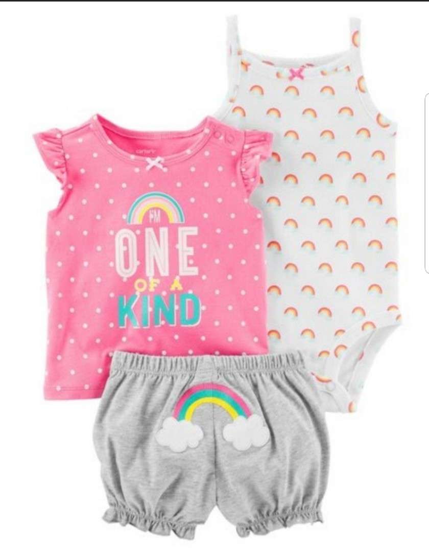 906f94bbc 9M* BN Carter's 3-Piece Bodysuit & Shorts Set For Baby Girl, Babies ...