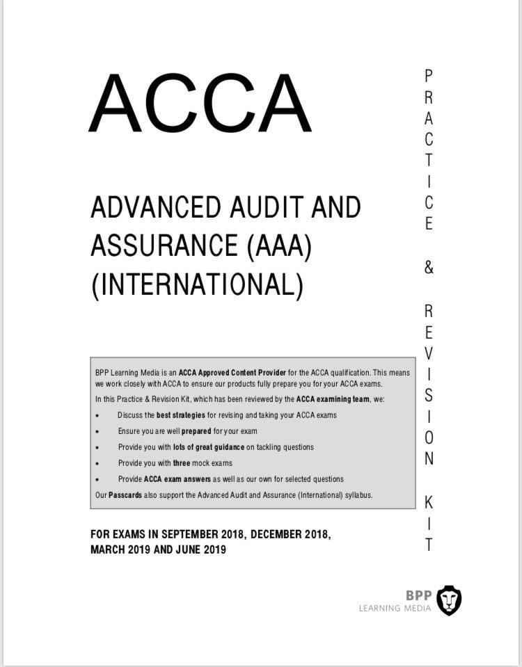 ACCA BPP Advanced Audit Assurance Kit 2019 updated