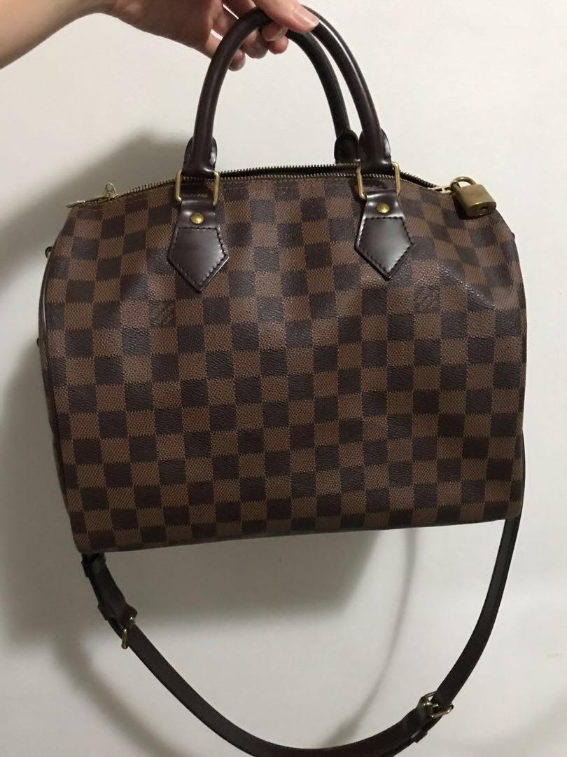 AUTHENTIC Louis Vuitton Speedy Bandouliere 30 Damier Ebene Speedy B ... 2283d264a9b93