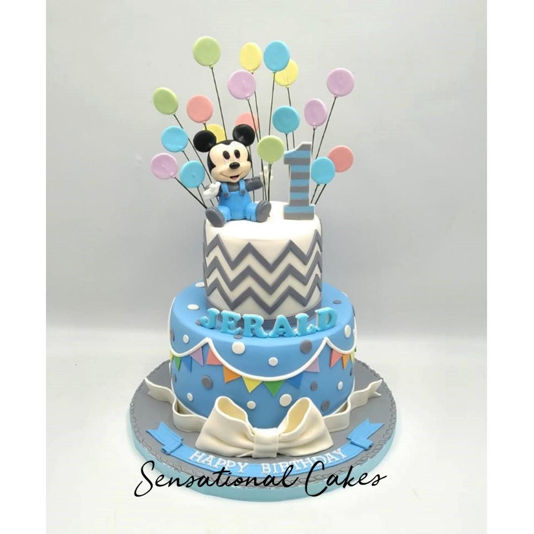 Tremendous Theme 1St Birthday Cake For Baby Boy Mickey Mouse The Cake Boutique Personalised Birthday Cards Bromeletsinfo