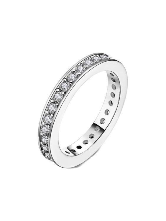 6550f00cf BN Swarovski 18k White Gold Plated Eternity Ring, Women's Fashion,  Jewellery, Rings on Carousell