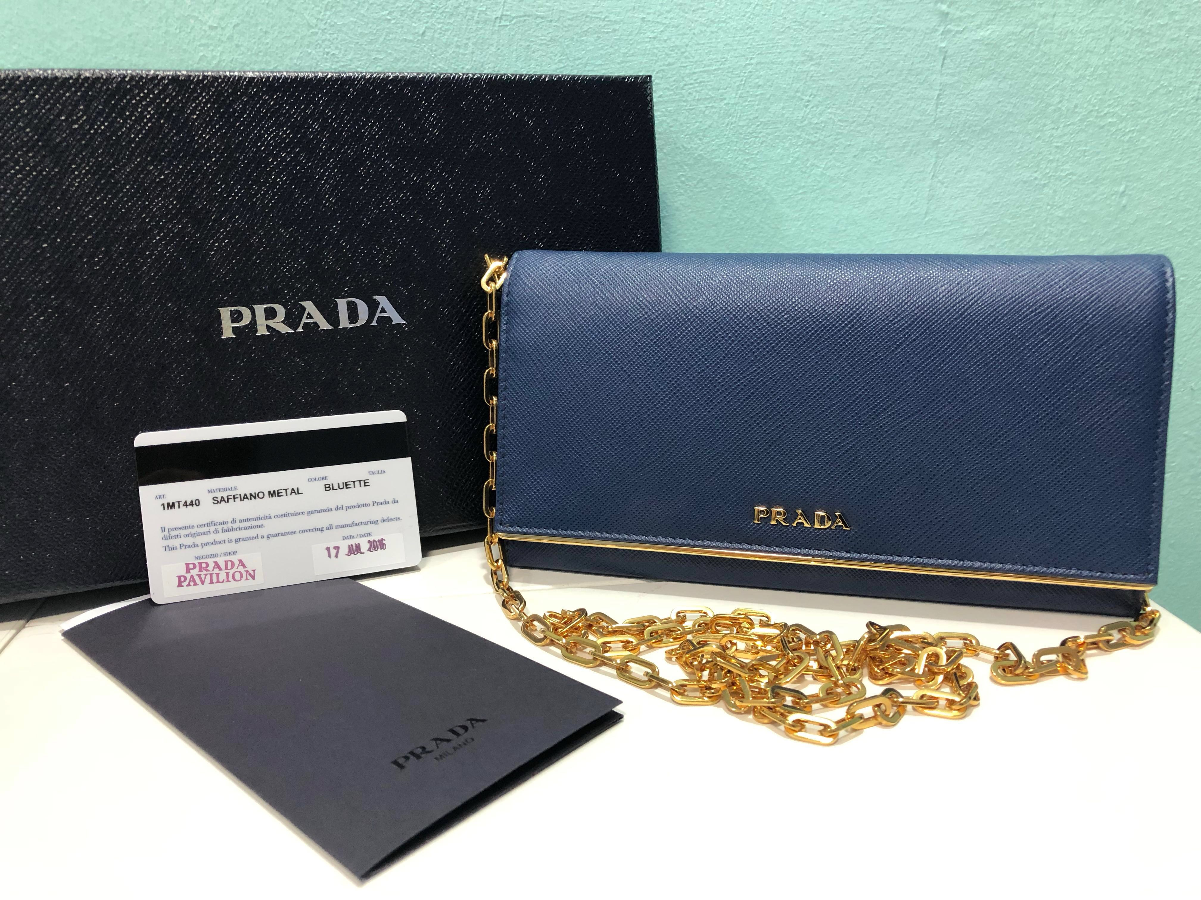 48425d3905fb0f ... official store bnib authentic prada wallet on chain in navy luxury bags  wallets handbags on carousell