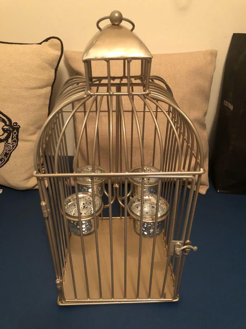 Decorative Candle Holder Bird Cage Design Furniture Home Decor