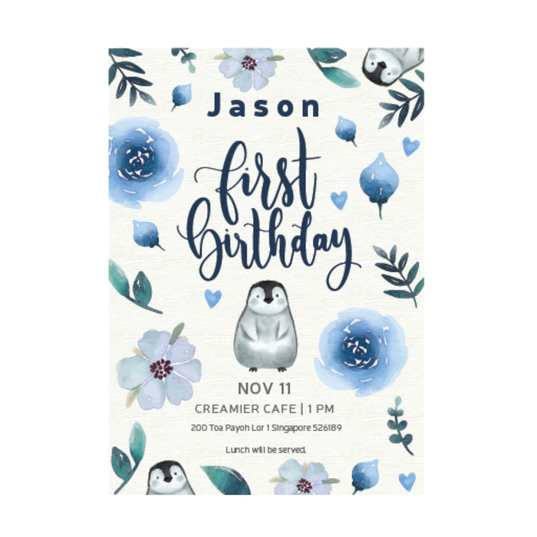 First Birthday E Invitation D3 Design Craft Art Prints On