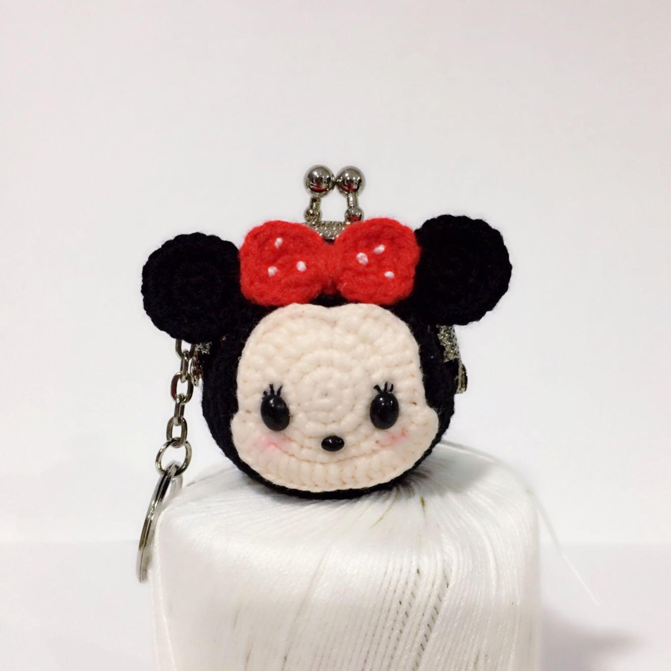 35f5c1539 Handmade Crochet Amigurumi Minnie Mouse Mini Coin Purse Keychain ...