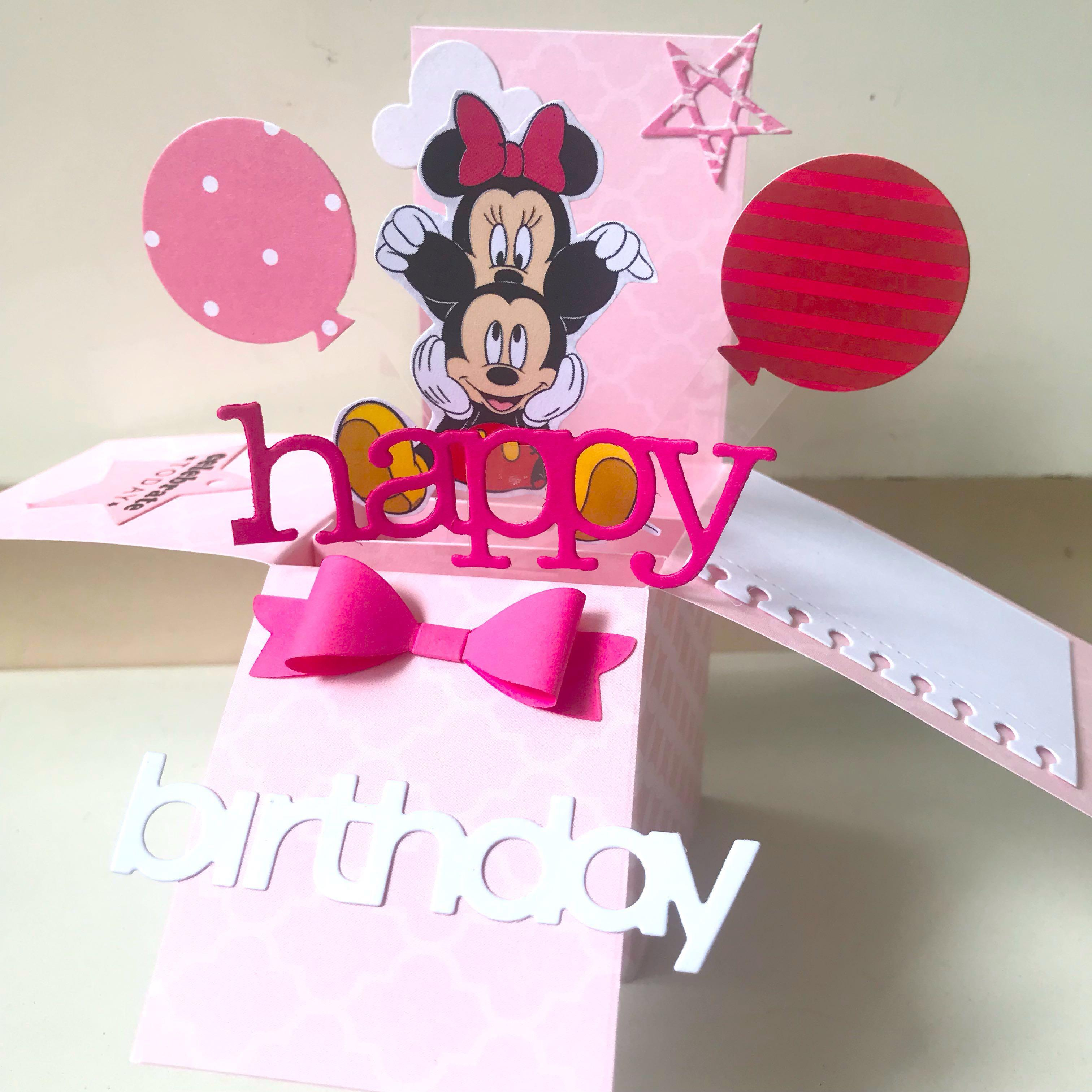 Happy birthday Mickey and Minnie Mouse handmade Pop Up card