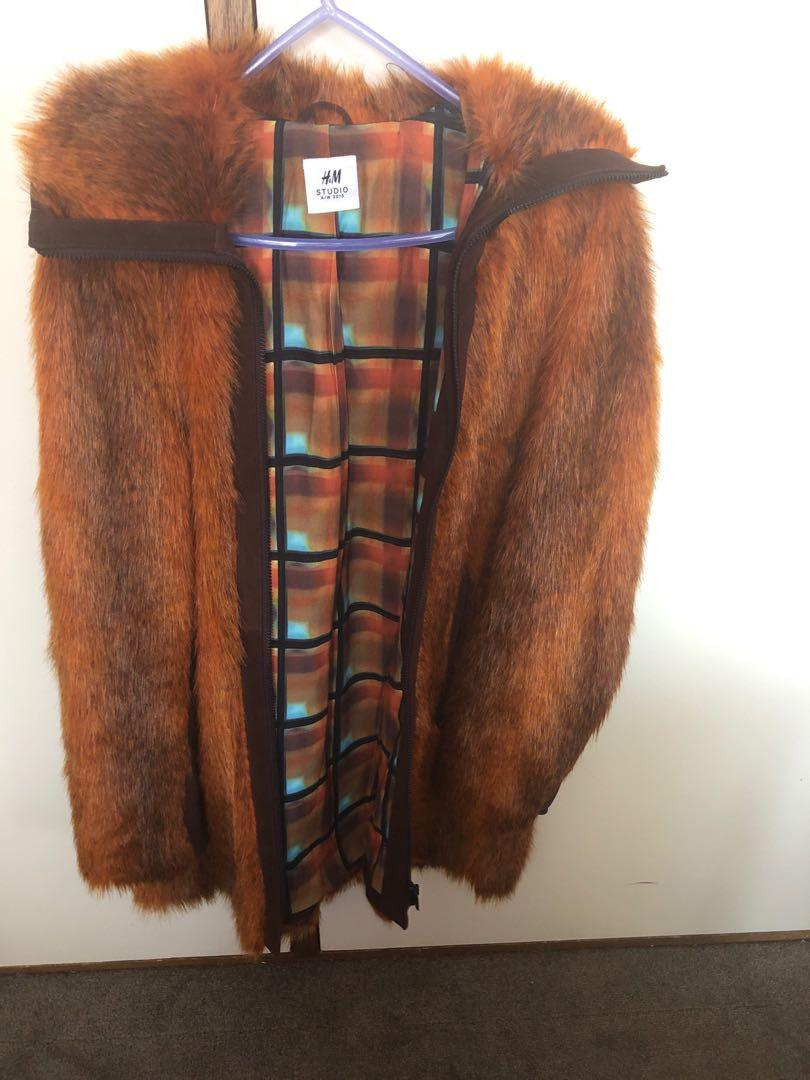 H&M designer fur coat fox faux jacket suede fluffy lux