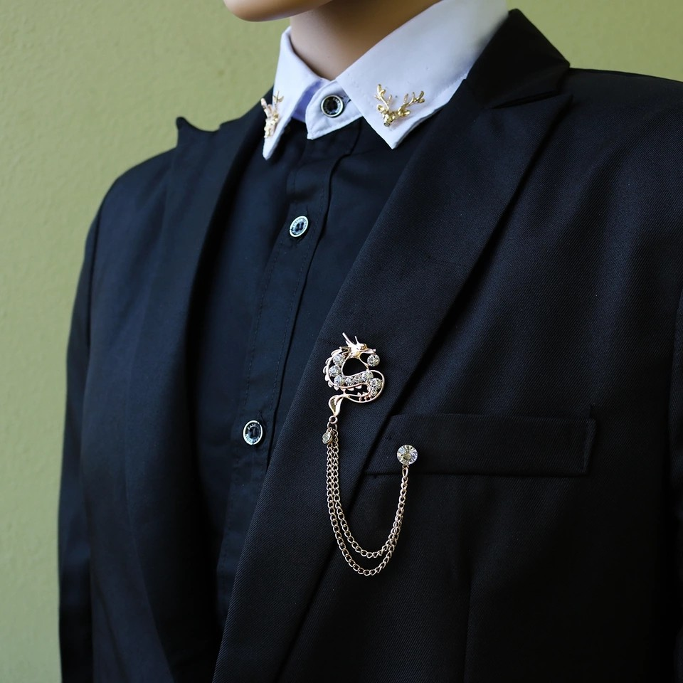 i-Remiel Rhinestone Tassel Dragon Brooch Animal Corsage Lapel Pin With  Chain for Men Suit Shirt Collar Decoration Accessories