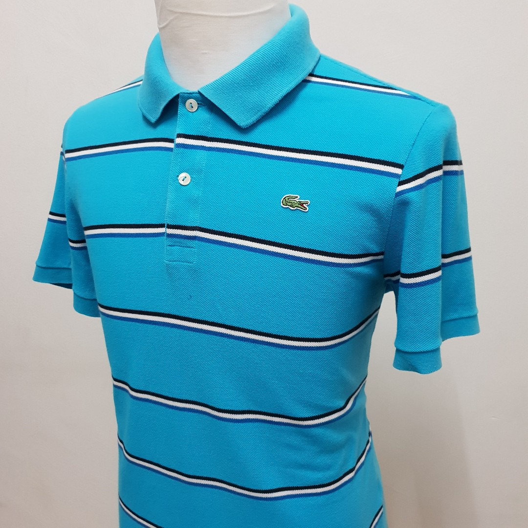 f99f0615 Lacoste Striped Polo Shirt Slim Fit Size M, Men's Fashion, Clothes ...