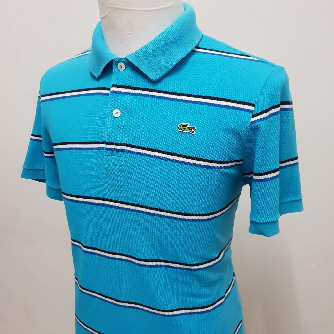 f99f0615 Lacoste Striped Polo Shirt Slim Fit Size M, Men's Fashion, Clothes ...