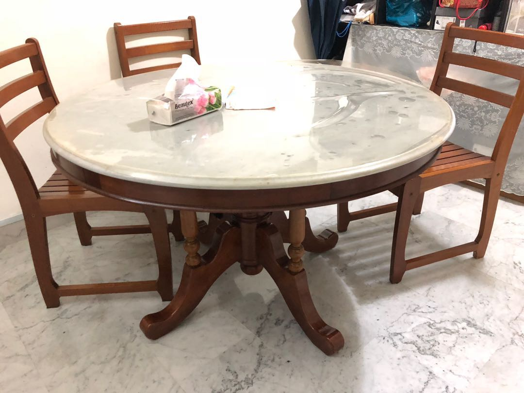 Marble Dining Table 6 Seater Furniture Tables Chairs On Carousell