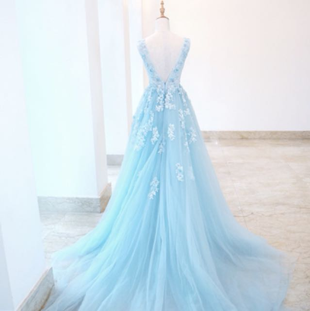 Mermaid Inspired Blue Wedding Gown