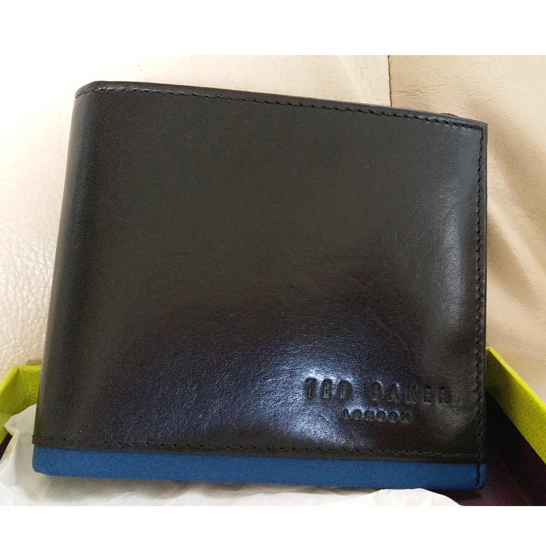 NWT Ted Baker Men's Black and Blue Leather Wallet with Coin Pocket Slot