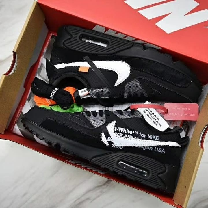 sale retailer 408f9 b6609 off white X nike air max 90 black, Men s Fashion, Footwear, Sneakers ...