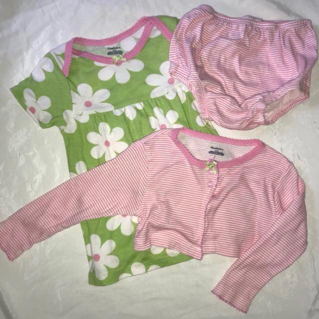 1648d0914e24 Preloved Gerber Baby Girl 3-Piece 12month Cardigan