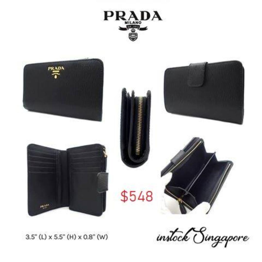 online store f4d88 6a30c READY STOCK authentic new PRADA PORTAFOGLIO LAMPO folio wallet black