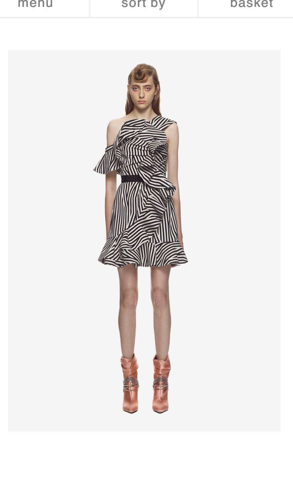 b18b17ff5d63f Self portrait abstract stripe asymmetrical ruffle dress, Women's ...