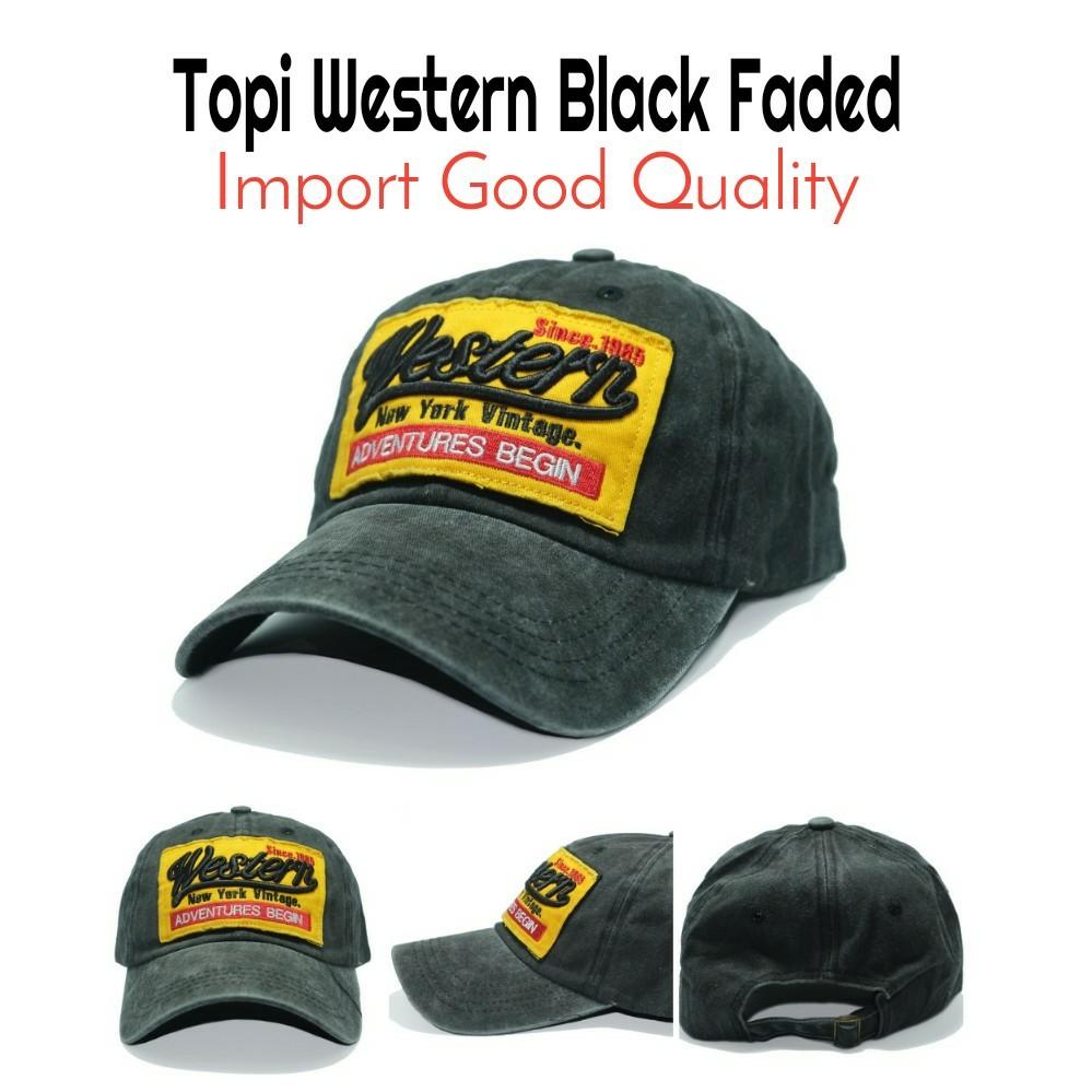 5f5d7e978fea1 Topi Western Black Faded