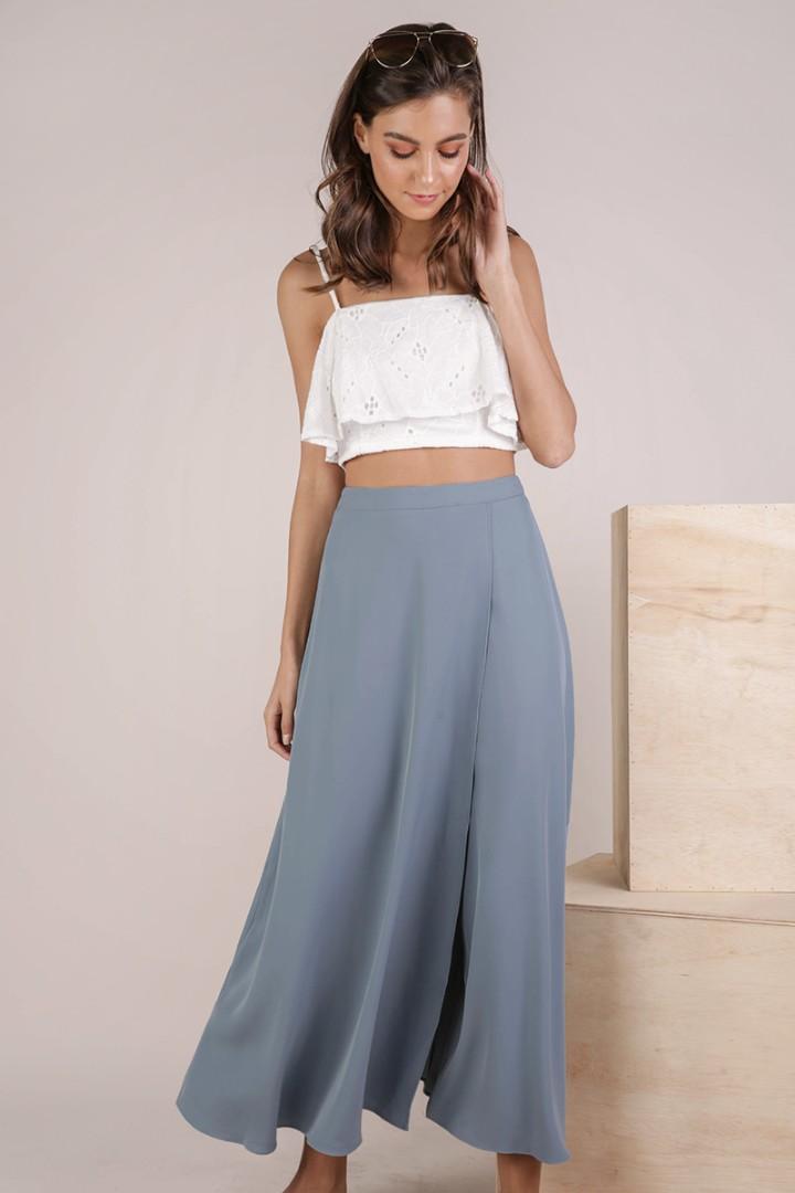 06b285ffb TTR Odelia Slit Maxi Skirt in Dusty Blue M, Women's Fashion, Clothes ...