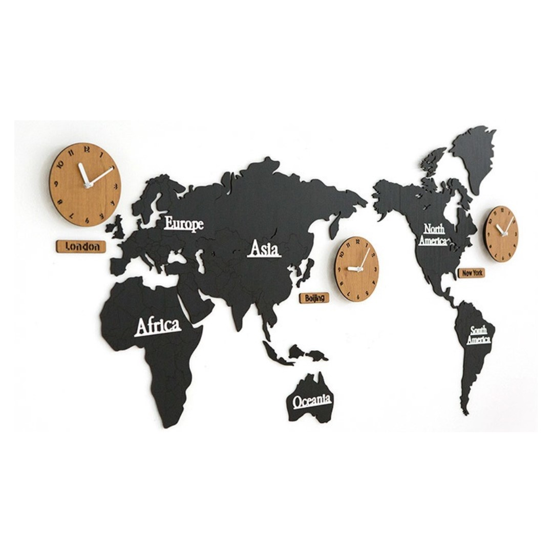 World Map Wall Clock Black Everything Else On Carousell