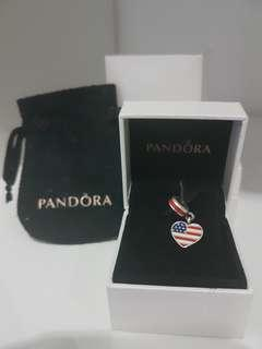 Brand New Authentic Pandora Charm USA Flag with small box / pouch