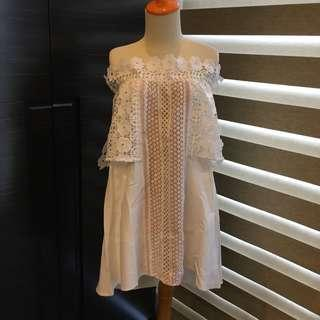 In Fashion White Lace Embroidery Off Shoulder Dress