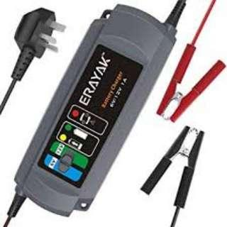 1526 1000mA Car Battery Charger TUV GS Certified, ERAYAK Fully Automatic 6V/12V Trickle Charger Maintainer for 40Ah Lead-acid Battery, Maintenance-free, CA-CA, AGM and Gel Battery
