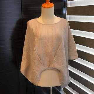 Oversized Pleat Off Light Brownish Grey Top (Brand New) (Fashion Wanita)
