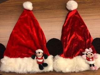 Disneyland 米奇美妮聖誕帽一對(購自香港迪士尼)