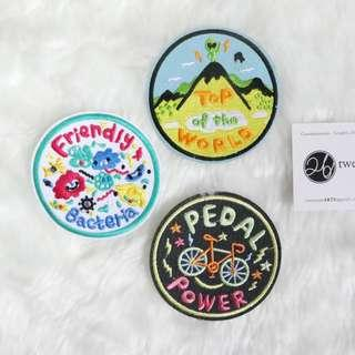 Iron On Patch | Round Series | Cute Bacteria, Alien Mountain, Cyclist