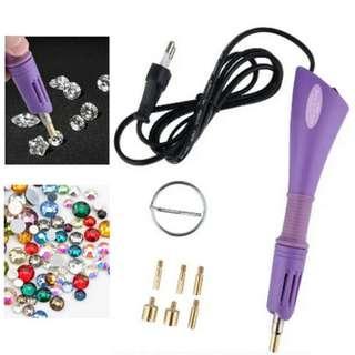 Hotfix Crystal Batu Manik Applicator Set Penekap manik (Pink/Purple)